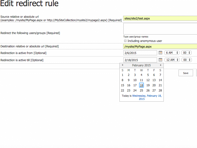 User Redirect Web Part - SharePoint redirect management
