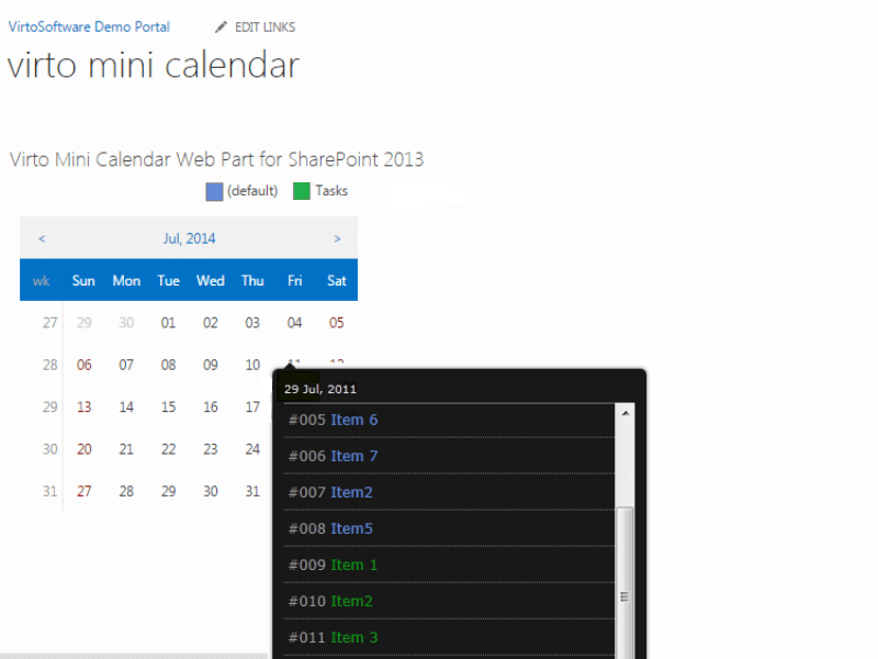 Mini Calendar Web Part - Color coded data sources