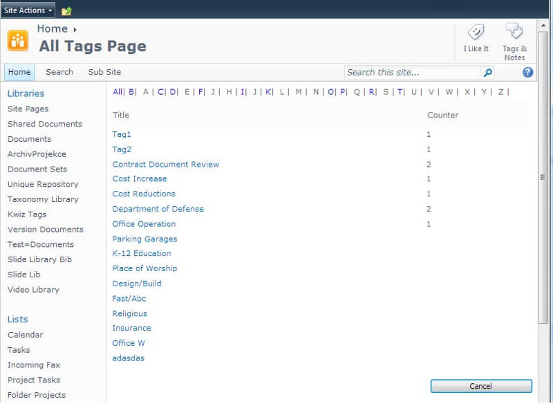 Tag Cloud for SharePoint - Convenient tag navigation