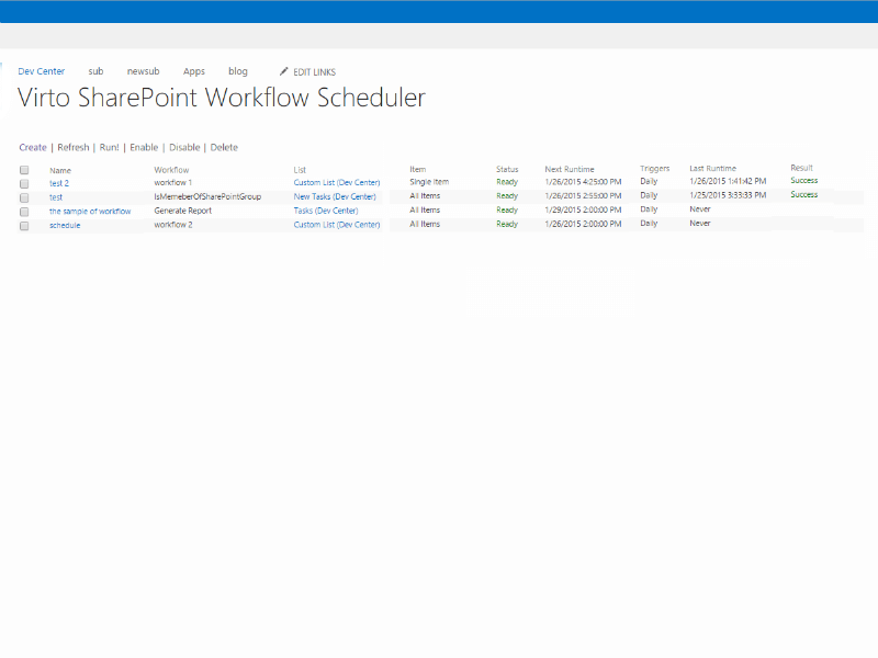 Workflow Scheduler - Start and run any SharePoint workflow according to a specific schedule (including recurring schedule)