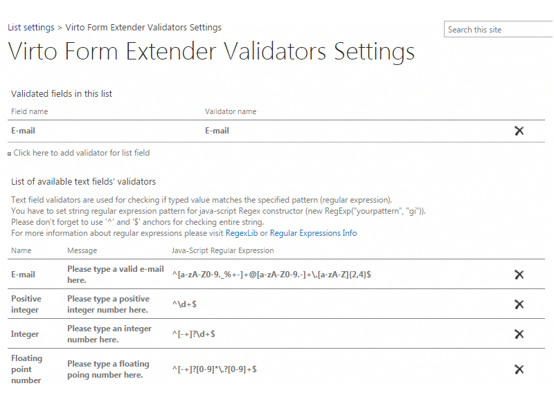Forms Extender - Design your own validator
