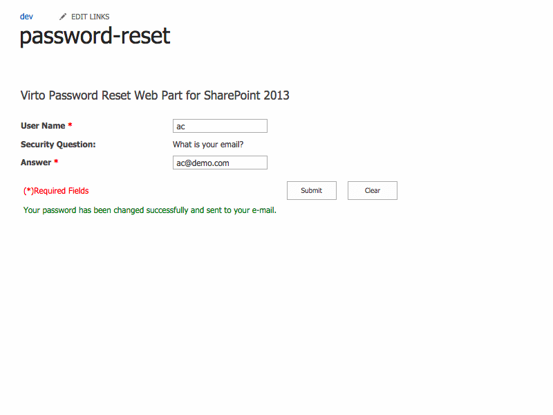 Password Reset and Recovery - Online and E-mail Password Delivery with SharePoint Password Reset web part