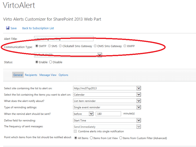 Alerts and Reminders Web Part - Send alerts and notifications from SharePoint via email, SMS, XMPP