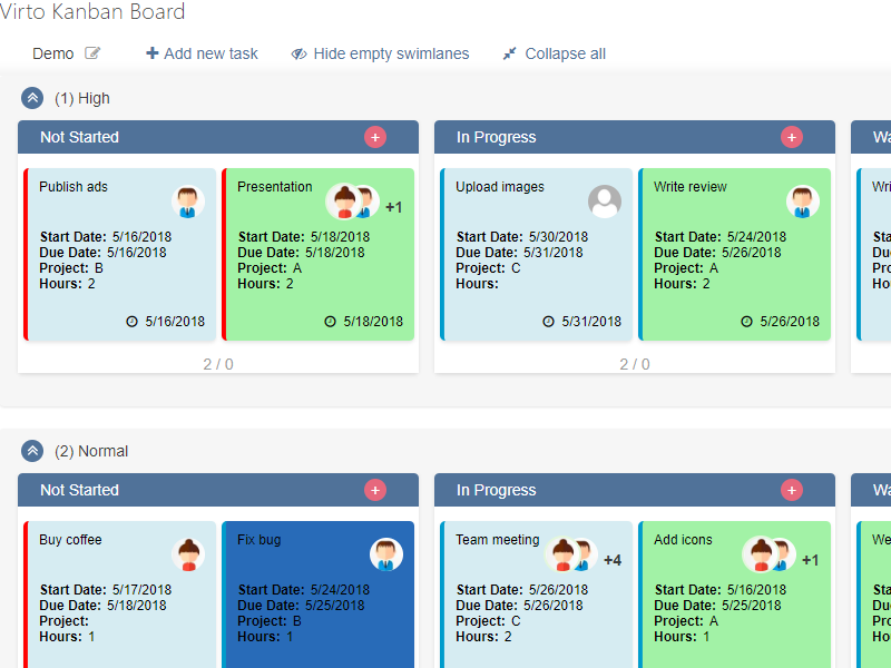 Kanban Board Web Part - Manage tasks between columns and swimlanes