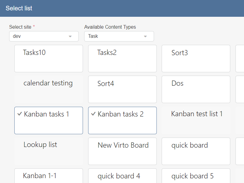 Kanban Board Web Part - Multiple SharePoint lists aggregation