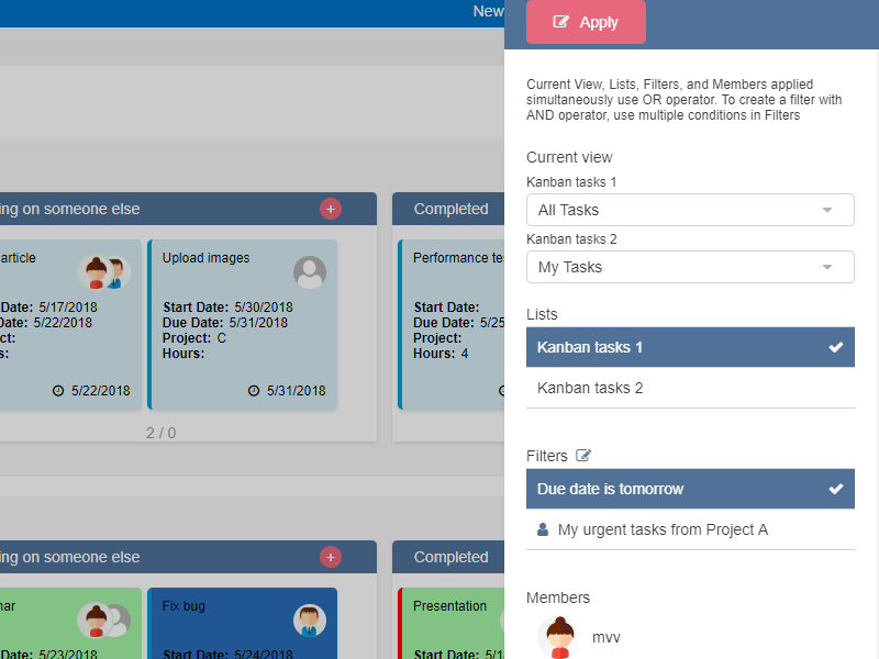 Kanban Board Web Part - Powerful set of task filters
