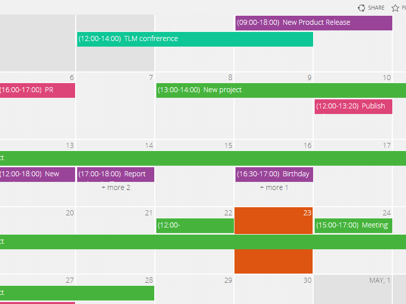 Calendar for MS Exchange - Color-code events from different calendars