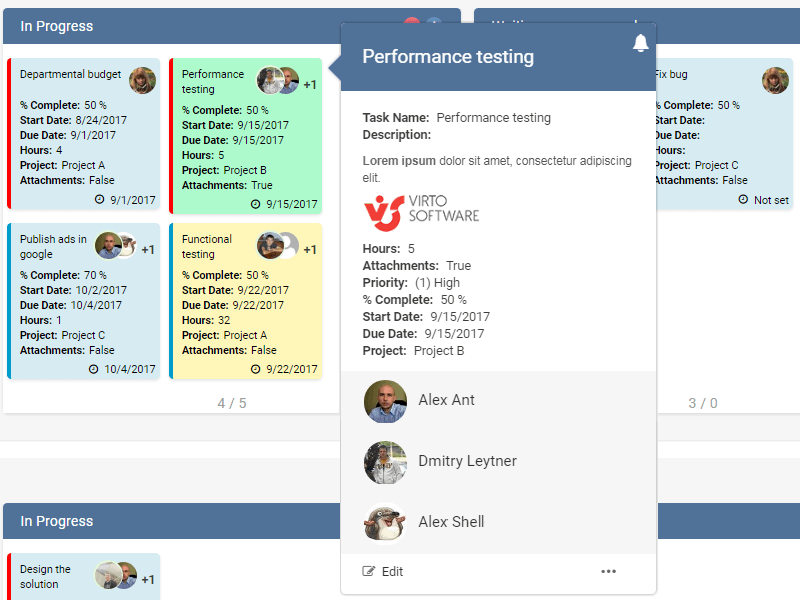 Kanban Board App - Colorful body of tasks and special markers