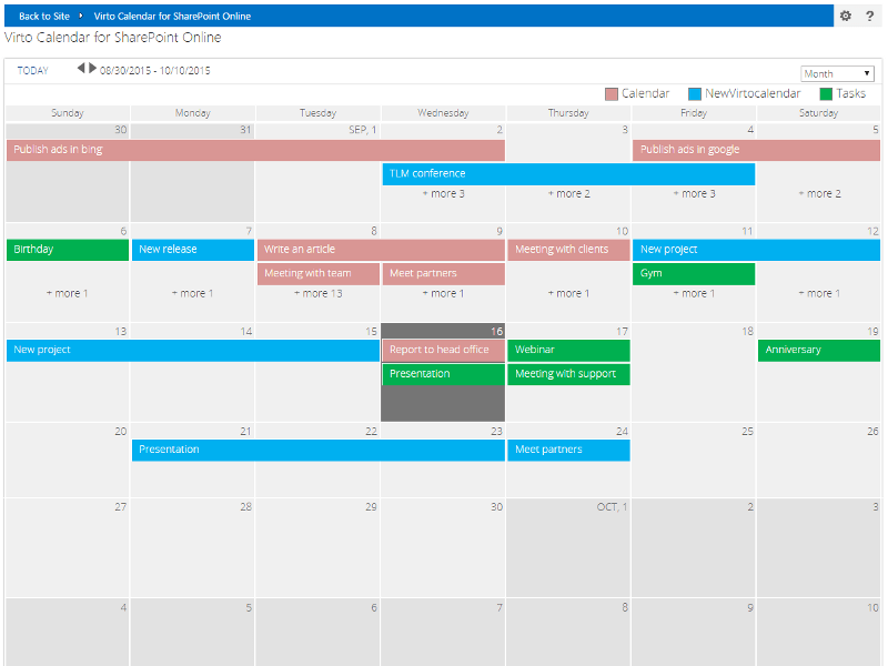 Office Calendar 365 : Office calendar add in for sharepoint online