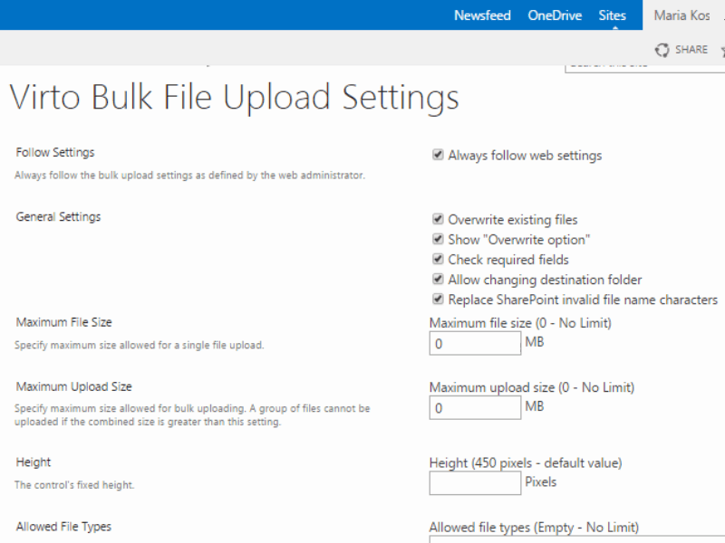 Bulk File Upload - Define upload settings for SharePoint farm