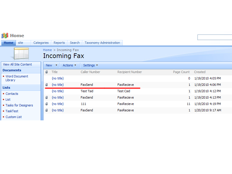 Incoming Fax Service - Handle incoming faxes and forward them to a SharePoint list