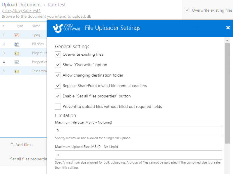 Office 365 Bulk File Uploader - Define settings for upload process