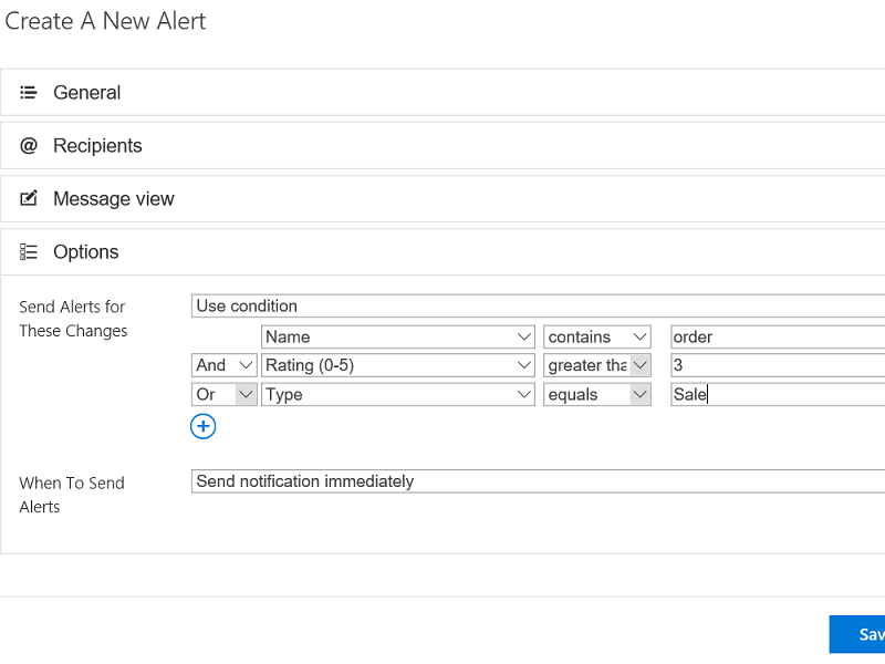 Alerts Add-in - Customize alert conditions