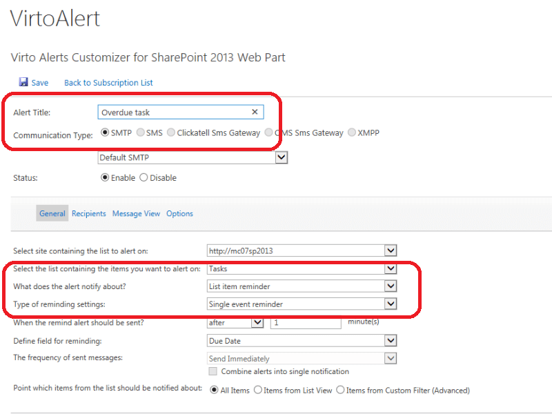 Alerts and Reminders Web Part - Sends reminders about upcoming and overdue events from SharePoint