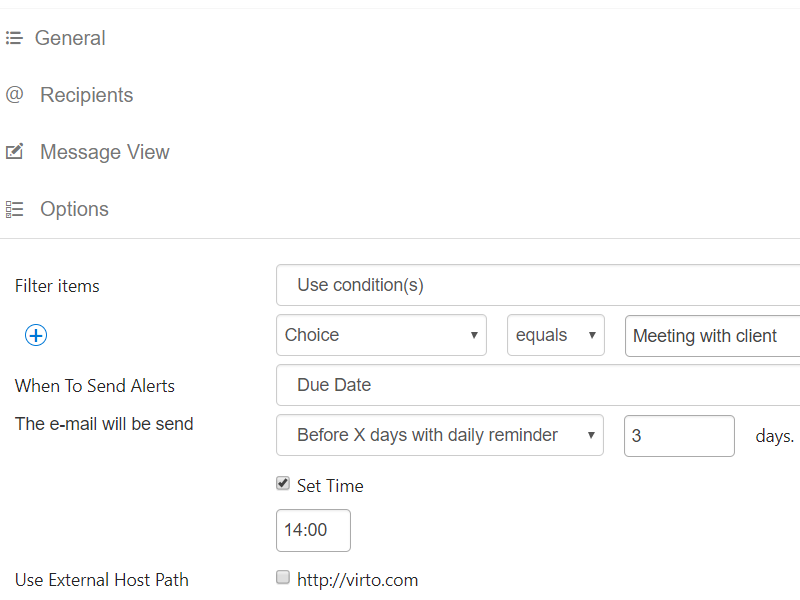 Alerts and Reminders Web Part - Flexible triggers and item filters system