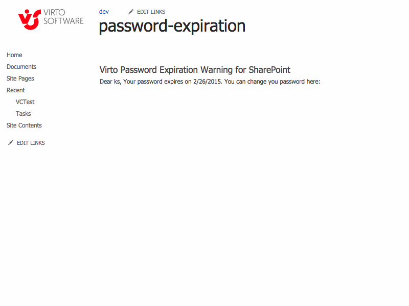 Password Expiration Web Part - Use Virto Sharepoint Password Expiration with Password Change