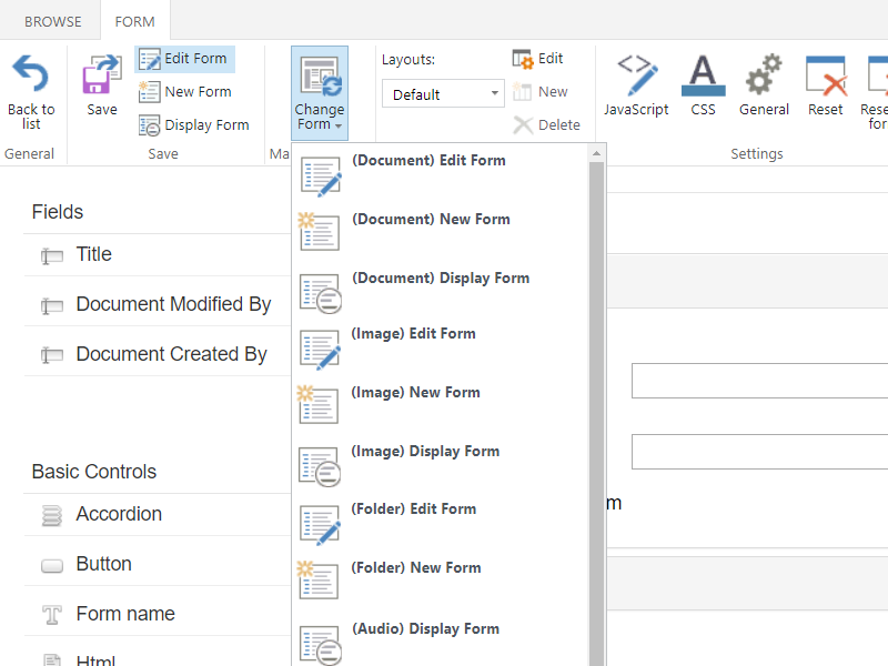 Forms Designer - Add distinct forms for New, Edit, and Display form view
