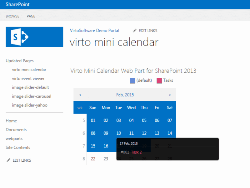 Weekly Calendar View Sharepoint : Sharepoint mini calendar web part virtosoftware