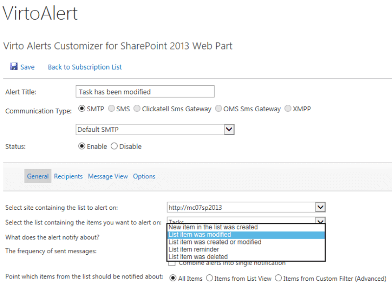 Alerts and Reminders Web Part - Alert  trigger events: item has been created/updated/deleted