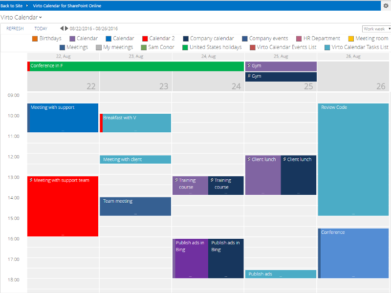 Weekly Calendar View Sharepoint : Office calendar app for sharepoint online virtosoftware
