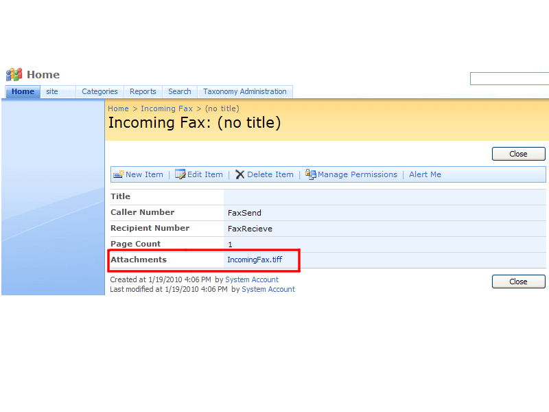 Incoming Fax Service - Additional fields in a fax list