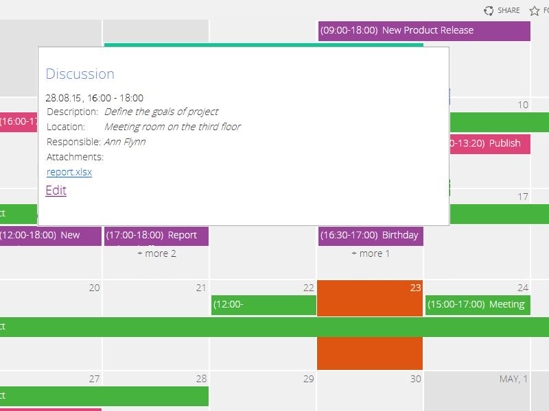Calendar for MS Exchange - Use Calendar Tooltip