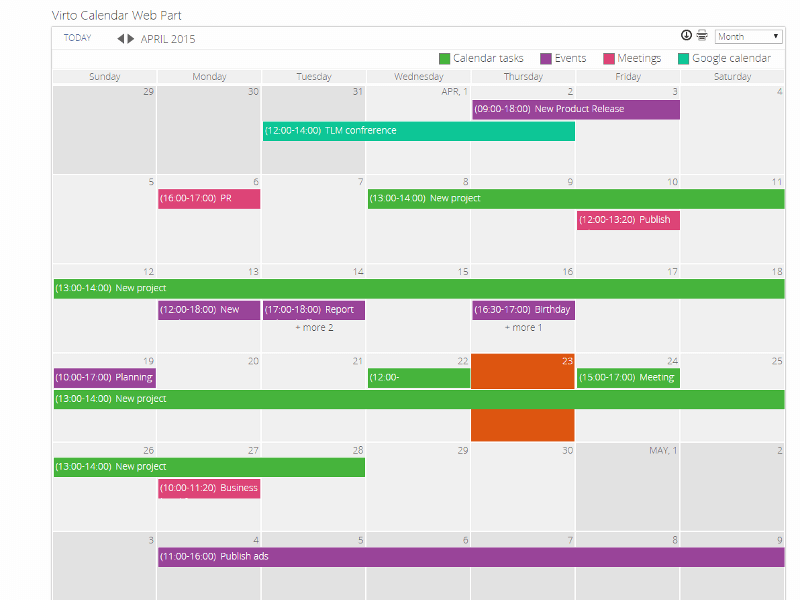 Weekly Calendar View Sharepoint : Sharepoint calendar web part virtosoftware
