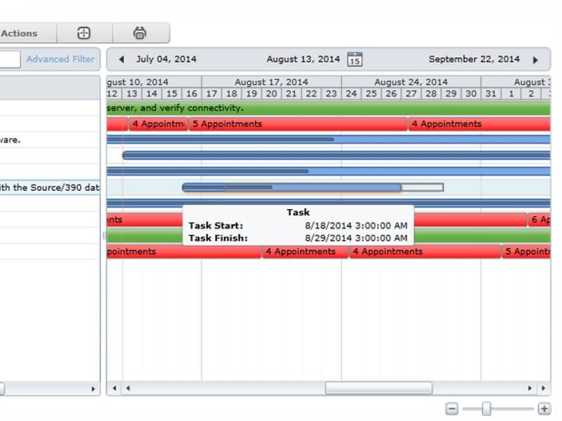 Resource Management Web Part - User-friendly Gantt Chart interface