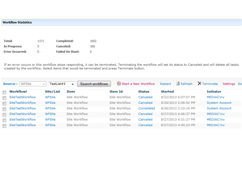 Workflow Status Monitor - Display all the SharePoint workflows