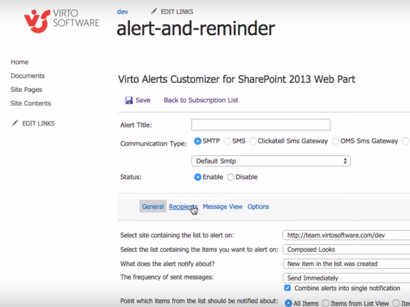 Video - Alerts and Reminders Web Part
