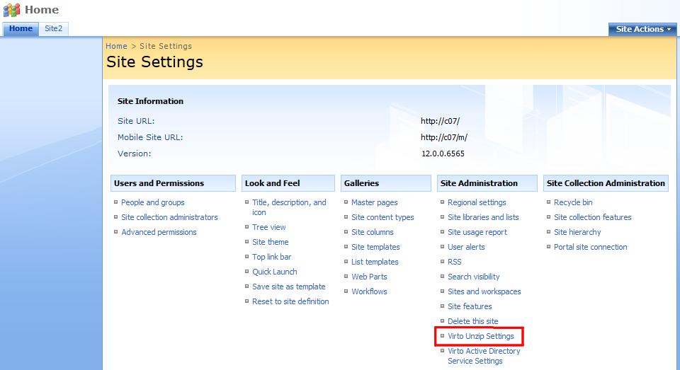 Unzip Settings - SharePoint Bulk File Unzip Web Part