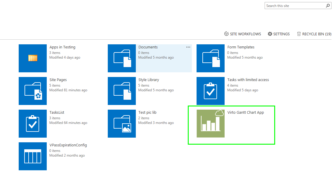 Virto gantt chart app installation gantt chart app for office 365 to adjust gantt view for sharepoint list you need to define data source settings first of all click on virto gantt chart app icon and open configuration ccuart Choice Image