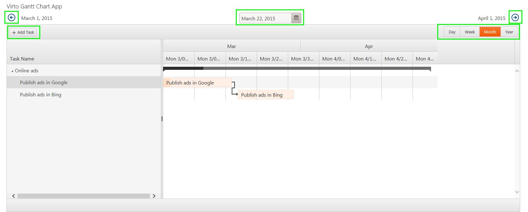 Layout Of Virto Gantt Chart App Gantt Chart App For Office 365