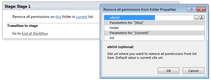 remove all permissions from folder office 365 workflows for