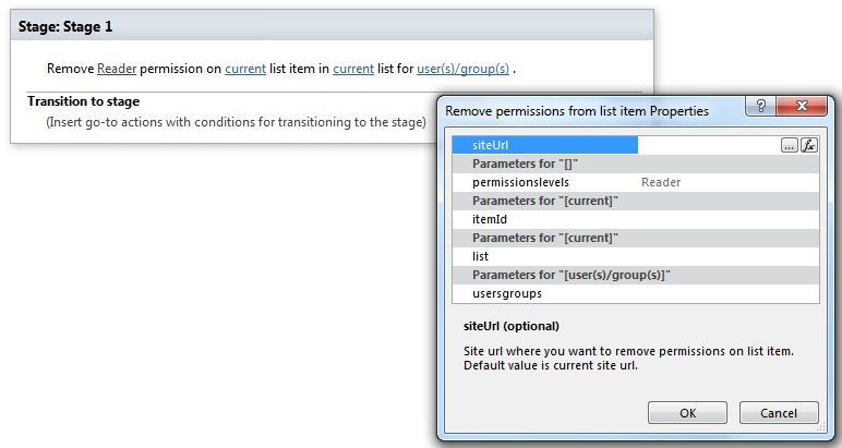 remove permissions from list item office 365 workflows for