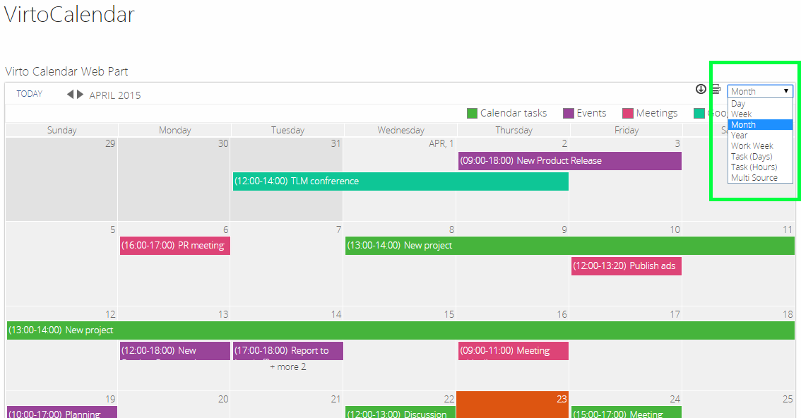Weekly Calendar View Sharepoint : Actions with calendar items sharepoint web part